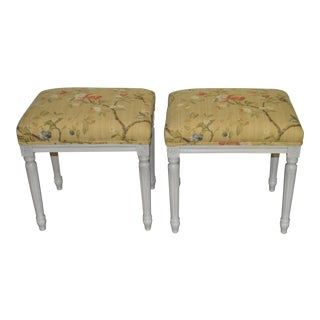 Gustavian Yellow Fabric Benches - a Pair For Sale