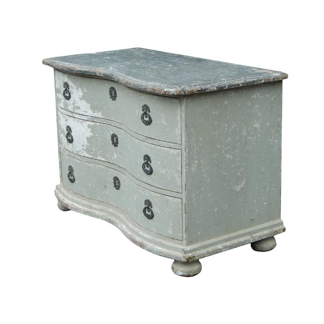 Beautiful French bow front dresser with bun feet. Great old paint.