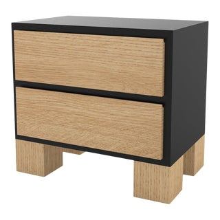 Contemporary 101 Bedside in Oak and Black by Orphan Work, 2020 For Sale