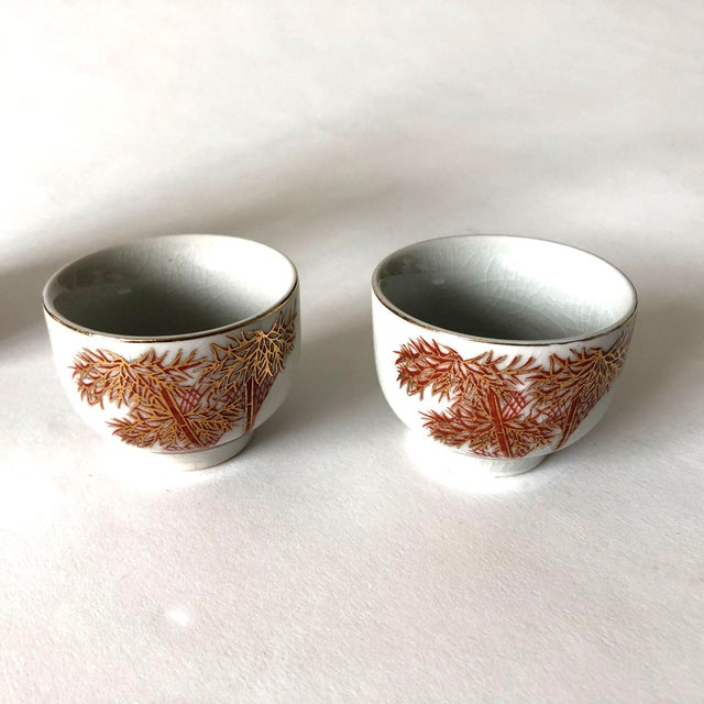 Japanese Ceramic Sake Decanter and Cups Set For Sale - Image 4 of 6