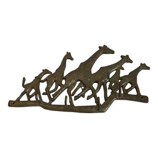 Vintage Running Giraffe Brass Wall Hanging With 4 Hooks For Sale