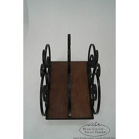 Custom Ornate Scrolled Wrought Iron Spanish Style Magazine Stand For Sale - Image 10 of 13