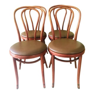 Vintage Thonet Bentwood Dining Chairs S/4 For Sale