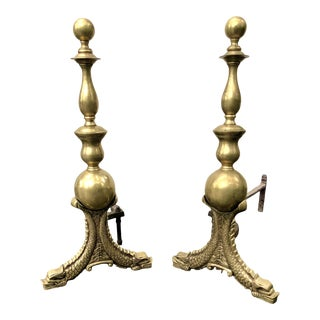 1930s French Neoclassical Brass Fireplace Andirons For Sale