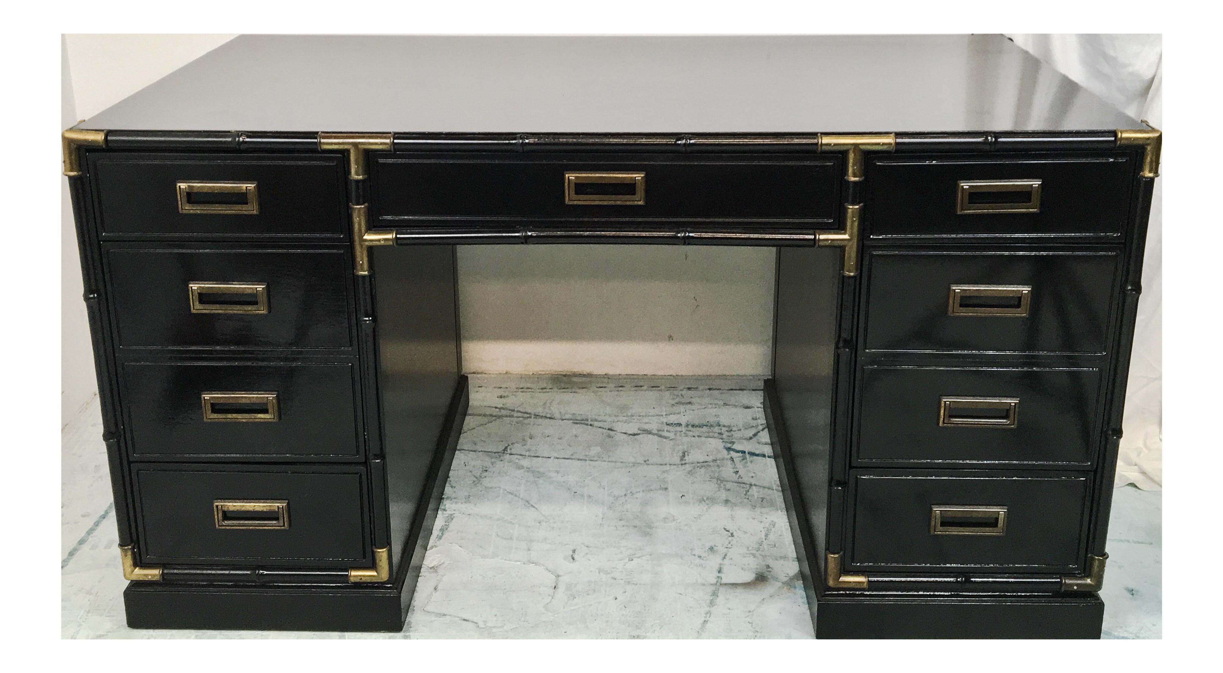 Black Lacquer Faux Bamboo Desk Chairish