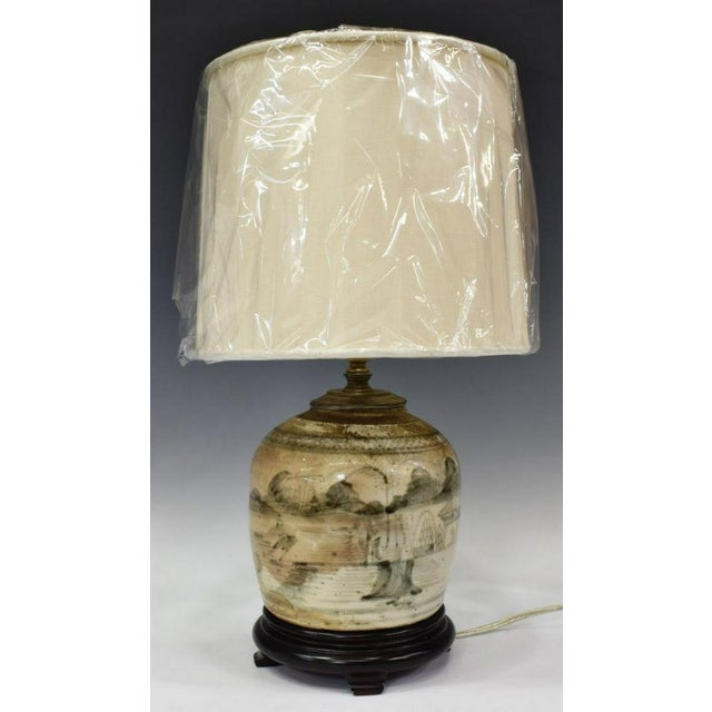 Chinese Glazed Chinese Sage Green Ginger Jar Table Lamp With Shade For Sale - Image 3 of 13