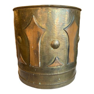 Large Antique Handmade Italian Brass and Copper Log Bucket For Sale