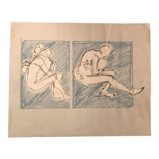 1970s Vintage Hilliard Dean Figure Drawing For Sale
