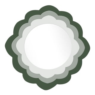 Fleur Home x Chairish Audobon Magnolia Circle Mirror in Duck Green, 36x36 For Sale