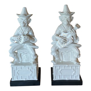 Vintage Chine De Blanc Chinoiserie White Ceramic Monkey Table Lamps - a Pair For Sale