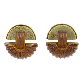 Fabrice Paris Signed Clip Earrings Art Deco Revival Brass Shagreen Amber Resin For Sale