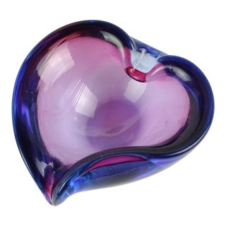 Barbini Murano Sommerso Purple Blue Italian Art Glass Valentine Heart Bowl Dish For Sale