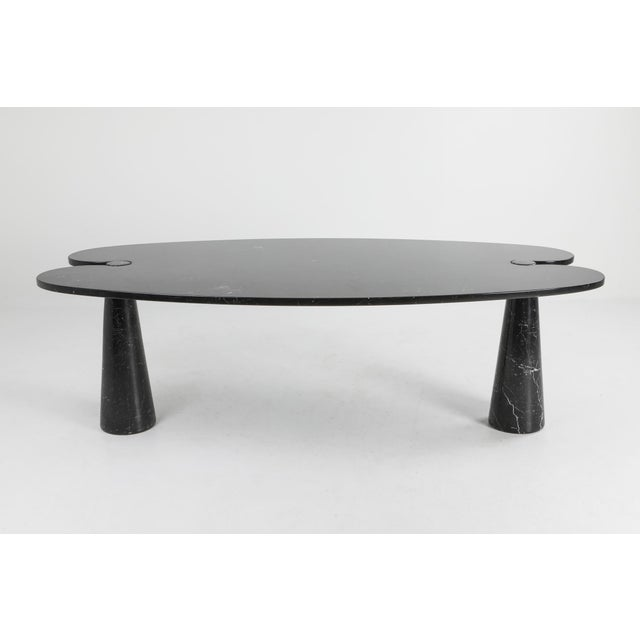 Black marble dining table, Angelo Mangiarotti, Skipper, Italy, 1970s. Original and labeled Postmodern marble table The top...