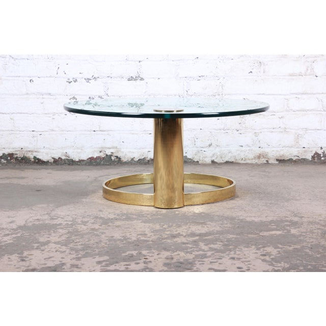Gold Leon Rosen for Pace Collection Cantilevered Brass and Glass Coffee Table For Sale - Image 8 of 9