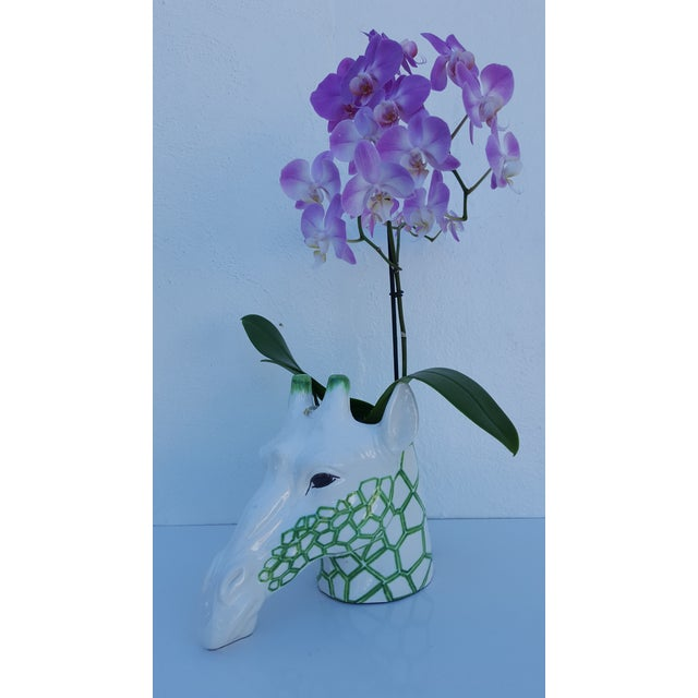 Vintage Italian Fabulous Kelly Green and white ceramic Giraffe Head planter. In excellent condition with minor marks.