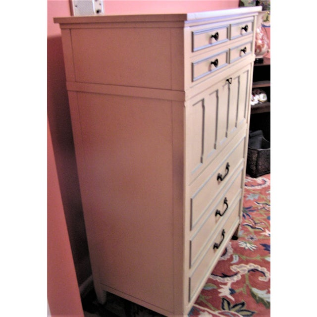 Drexel 1961 French Provincial Drexel Triune Highboy Dresser With Desk For Sale - Image 4 of 8