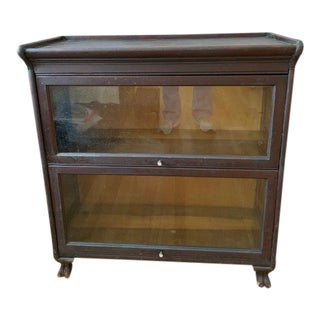20th Century Traditional Claw Foot Glass and Dark Wood Bookcase/Display Cabinet For Sale