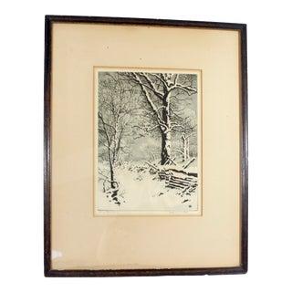 """Vintage George Elbert Burr Drypoint """"Oaks in Winter"""" Framed Print"""