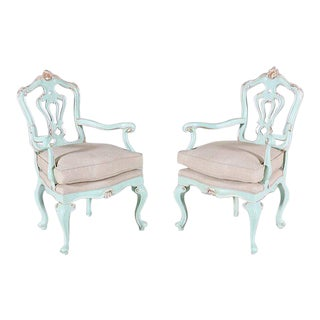 Rococo Style Painted and Parcel Gilt Armchairs - a Pair
