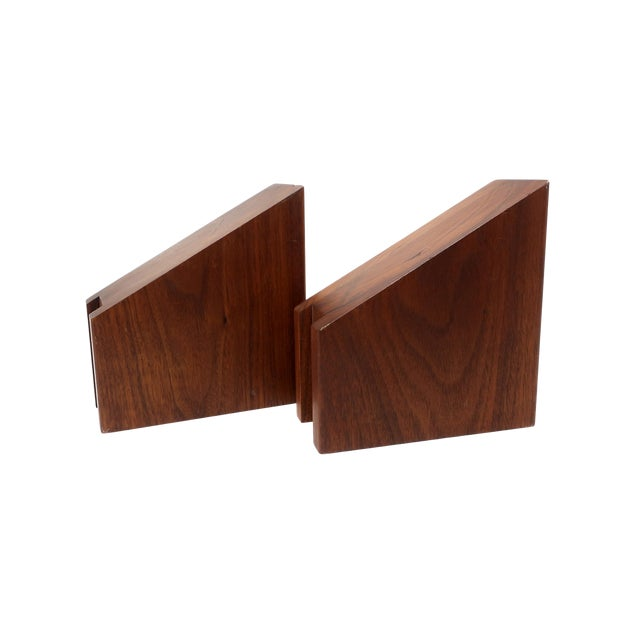 Mid-Century Modern Walnut Bookends For Sale