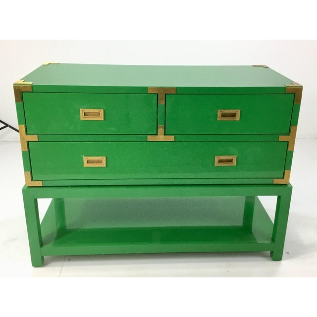Stylish modern Bungalow 5 green lacquer tansu console chest, three drawers, brass accents, showroom floor sample, original...