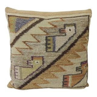 Petite Vintage Woven South American Woven Kilim Decorative Pillow. For Sale