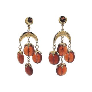 1970s Trifari Brown Beaded Chandelier Earrings For Sale
