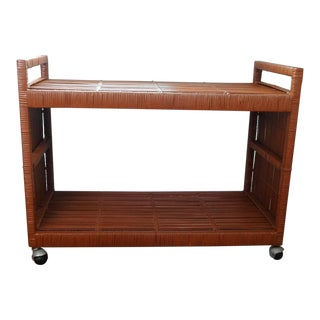 1960s Mid Century Modern Wicker Low Bar Cart For Sale