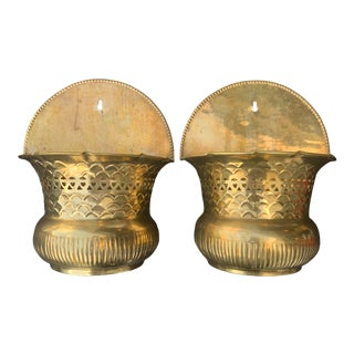 1980s Waccamaw Brass Wall Pockets- a Pair For Sale