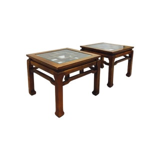 Vintage Glass Top Ming Tables - A Pair
