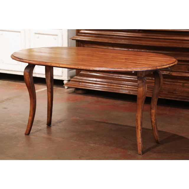 Vintage French Louis XV Carved Walnut Drop Leaf Oval Console Table For Sale - Image 11 of 11