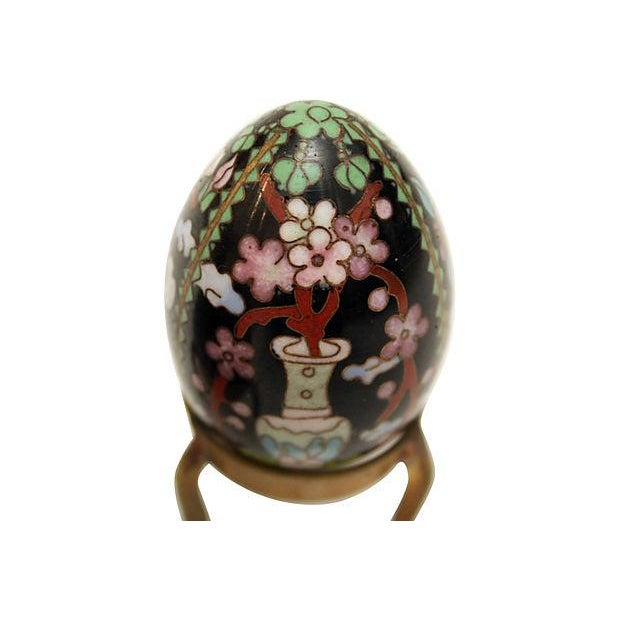 Cloisonne Eggs on Brass Display Stands - A Pair - Image 3 of 6