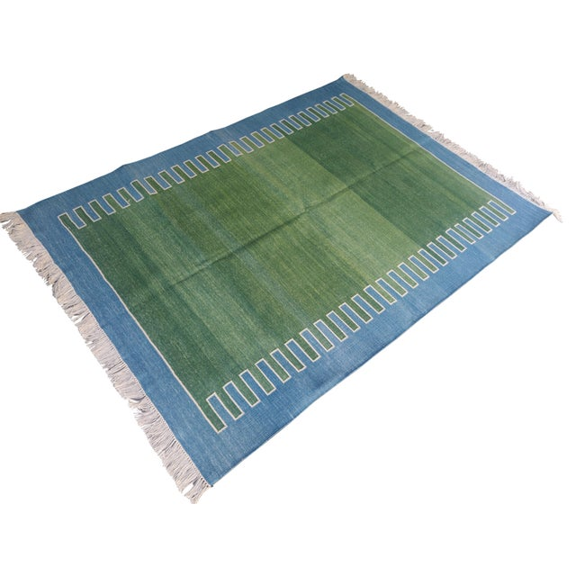 Textile Handmade Cotton Rug, Green with Blue Geometric Border and Cream Fringe 3'x4' For Sale - Image 7 of 7