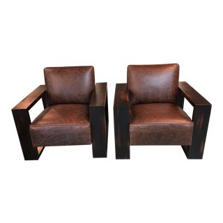 Old Hickory Tannery Modern Leather Arm Chair - A Pair For Sale