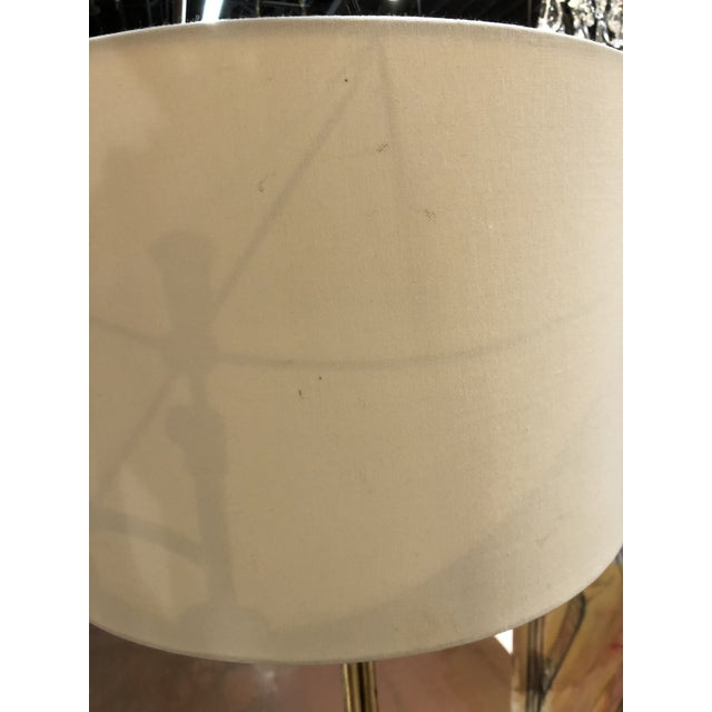 Gilt metal faux bamboo floor lamp by Circa Lighting in Atlanta, GA with white drum fabric lampshade. This lamp is 18.5...