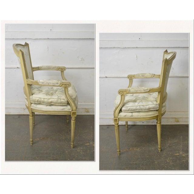 *STORE ITEM #: 17906-fwmr French Louis XVI Style Vintage Custom Paint Frame Fauteuil Arm Chair AGE / ORIGIN: Approx. 70...