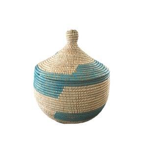 """Basket W/ Lid Senegal West Africa 14.5"""" H For Sale"""