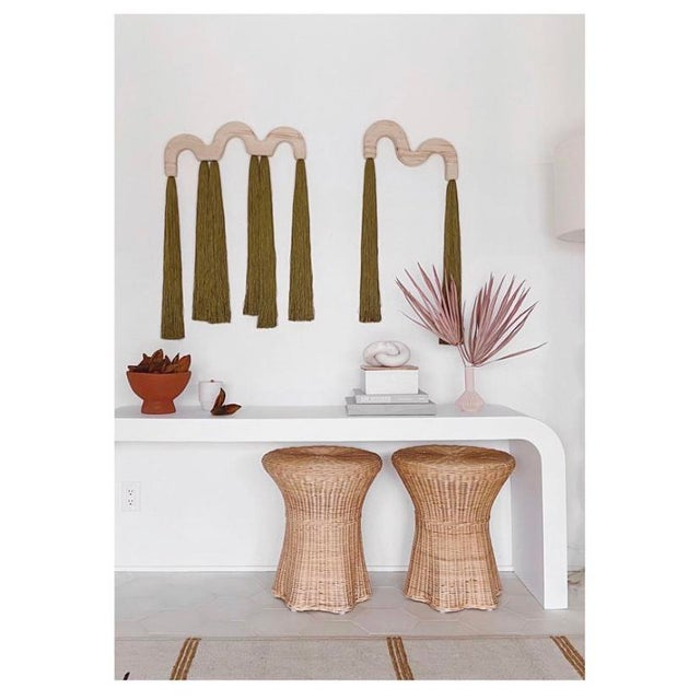 Contemporary Modern White Raw Plaster Waterfall Console For Sale - Image 3 of 8
