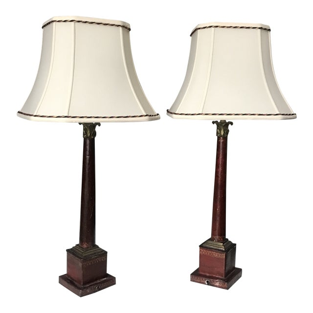 Antique Pair of Red and Gold Metal Lamps With Brass Detail - a Pair For Sale