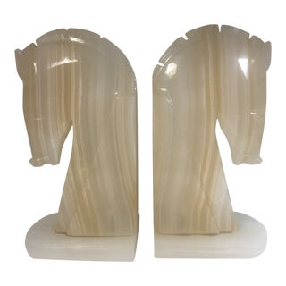 Art Deco Onyx Horse Head Bookends - a Pair For Sale