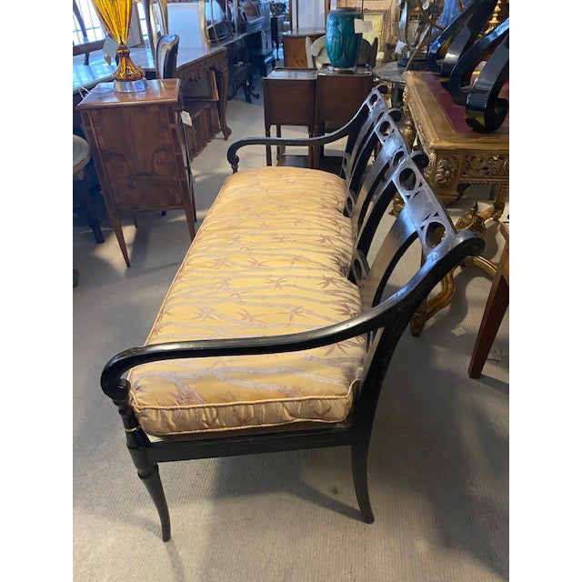 Wood 19th C. English Black Painted Settee With Flower Motif For Sale - Image 7 of 12