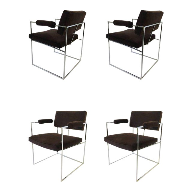 Set of Six Chrome Armchairs by Milo Baughman for Thayer Coggin For Sale