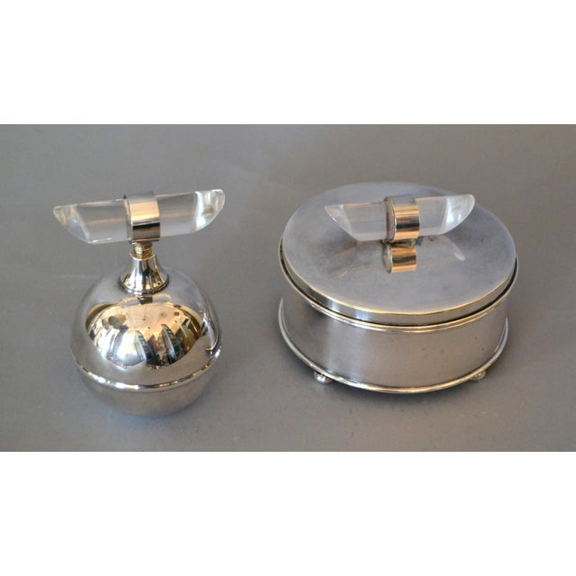 Mid-Century Modern Silver Plate & Lucite Perfume Bottle & Powder Box 2 Pc. Vanity Set For Sale - Image 13 of 13