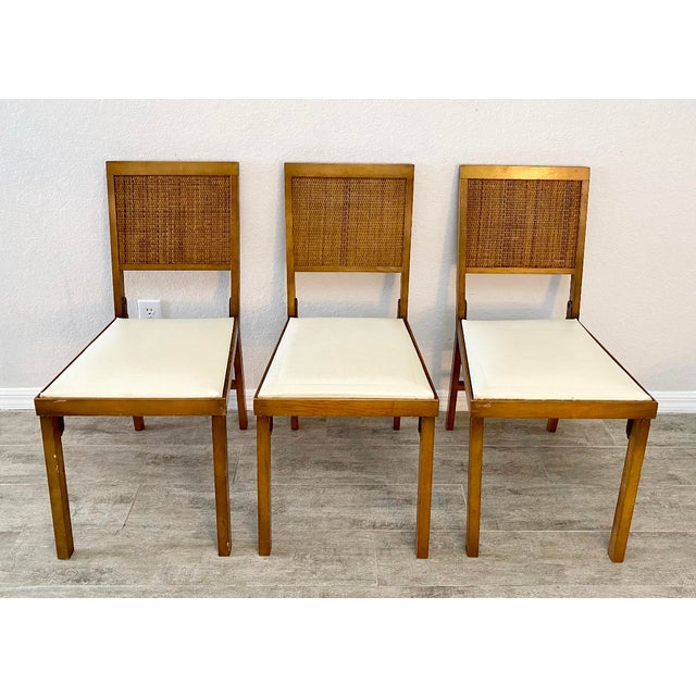 Stunning set of vintage mid century modern Leg o magic folding chairs. Stunning lines and amazing character with their...