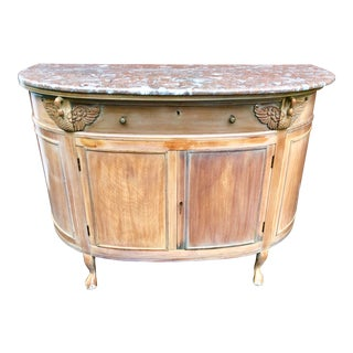 French Limed Marble Top Demi Lune Sideboard with Swan Carvings For Sale