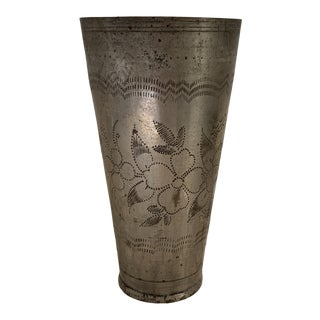 1940s Indian Etched Brass Metal Lassi Cup Vase For Sale