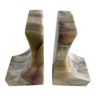 1950s Vintage Mid Century Onyx Bookends-a Pair For Sale