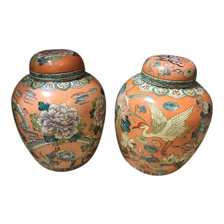 Vintage Peach Ceramic Chinese Ginger Jars With Dragon, Herons, Butterflies, & Flowers - a Pair For Sale