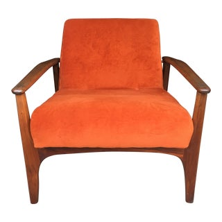Adrian Pearsall for Craft Associates Danish Modern Walnut Armchair For Sale