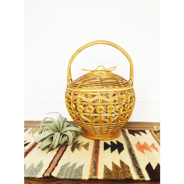Vintage Large Rattan Basket - Image 3 of 7
